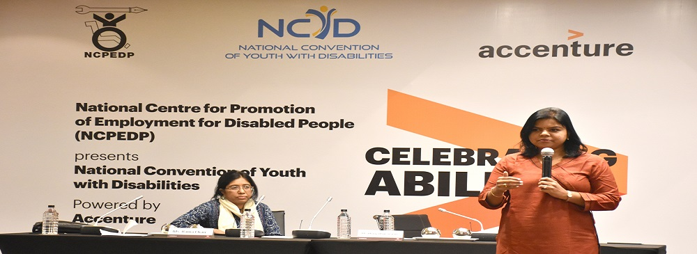 Session titled 'Into the Future' at the 4th National Convention of Youth with Disabilities held on 9th & 10th November, 2017 in New Delhi. From Left to Right: Rama Chari, Rights Specialist & Founder, Diversity & Equal Opportunity Centre (DEOC); and Dhanya Rajeswaran, Director - Talent Strategy, Culture, Inclusion & Diversity Lead, Accenture, India.