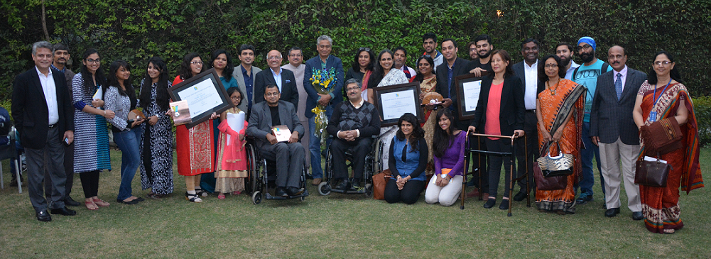 Group Photo of the 16th NCPEDP-Lemon Tree Helen Keller Awardees with dignitaries on 2nd December, 2015.